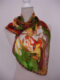 Seidenschals - Seidenschal Pferde grün braun - ein Designerstück von textilkreativhof bei DaWanda