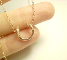 ROSE GOLD Tiny Luck Necklace - Tiny Hand Formed Rose Gold Filled Horseshoe on Rose Gold Vermeil Chain