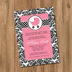 Custom Boy or Girl Damask Baby Shower Invitation by DigiPrintz
