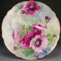 Bavaria Superbly Hand Painted Poppies Charger | eBay