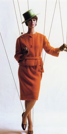 1961 Simone in orange suit, Harper's Bazaar