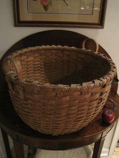 "Antique 1800s Huge New England Shaker Black Ash Gathering Basket 22"" wide 17"" high By North Bayshore Antiques SOLD $1,100"