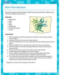 Blow Paint Monsters - Art Activity for Kindergarten