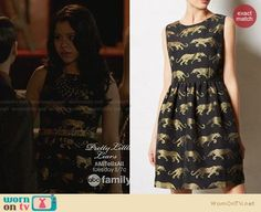 Mariana's black and gold panther dress on The Fosters.  Outfit Details: https://wornontv.net/28880/ #TheFosters