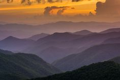 Sunset from Caney Fork Overlook on the Blue Ridge Parkway in North Carolina