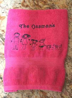 Personalized Stick Figure Family Towels - Personalized Stick Figure Towels