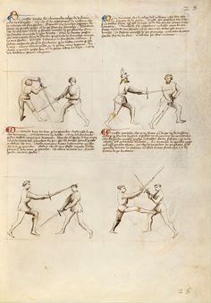 """""""Combat with Sword (Fol. 26),"""" by Fiore del Liberi(c1410)"""