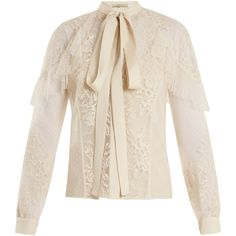Elie Saab Tie-neck lace and tulle blouse (€1.585) ❤ liked on Polyvore featuring tops, blouses, ivory, pink necktie, ivory lace blouse, necktie blouse, frill blouse and tie neck tie