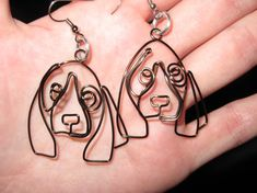 Wire Wrapped Basset Hound Or Other Dog Earrings MADE by 1ofAkinds