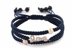 "925 Sterling Silver Rose Gold with Clear Iced Out ""Love"" Navy Blue Shamballah Macrame Stretch Bracelet JOTW. $19.95. 100% Satisfaction Guaranteed!. 925 Sterling Silver. Great Quality Jewelry!"
