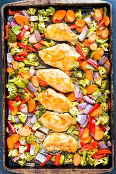 Thai Peanut Sauce Chicken and Veggies is an easy and healthy sheet pan dinner recipe that you can throw together on a busy weeknight! Load up on lean chicken and nutritious veggies for a gluten-free, dairy-free, and low-carb meal the whole family will love!