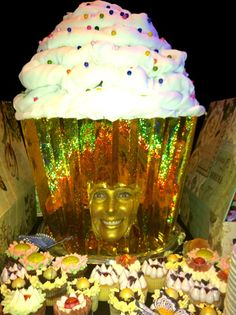 Interactive buffet heads from Day Entertainment & Events include a glittery, grinning human cupcake.  Photo: Courtesy of Day Entertainment & Events