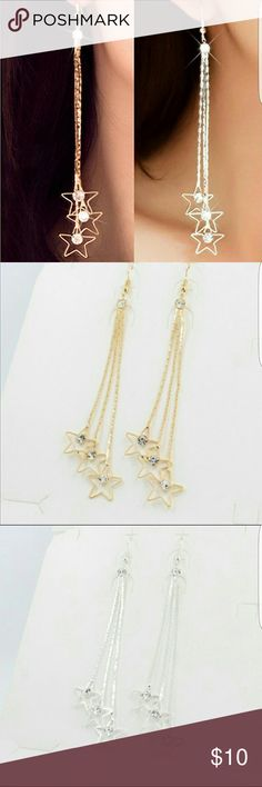 Star Dangled Earrings Brand new in the packaging! Have in both GOLD and SILVER. 3 strand drop earrings with rhinestone accent. Around 4 inches in length. Jewelry Earrings