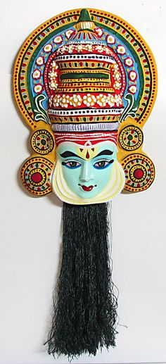 Rama Mask from Mahabharata in Kathakali Style - Wall Hanging (Papier Mache)