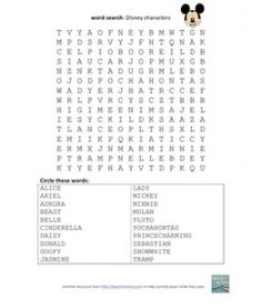 Word Search Disney Characters