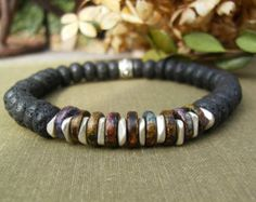 Men's Black Lava Bracelet, Jeweltone Greek Ceramic Heishi Beads, Rustic, Unisex, Silver, Stretch, Casual, Southwest Jewelry, Gift Idea