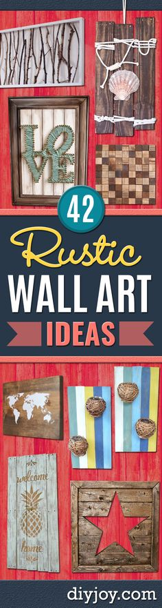 Rustic wall art ideas - diy farmhouse wall art and vintage decor for walls - country Farmhouse Wall Art, Rustic Wall Art, Rustic Walls, Diy Wall Art, Vintage Wall Art, Vintage Walls, Vintage Decor, Diy Art, Wall Art Decor