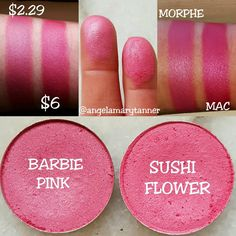 """Angela Tanner on Instagram: """"MORPHE 'BARBIE PINK' ($2.29) vs MAC 'SUSHI FLOWER' ($6) New dupe! BARBIE PINK is a great dupe for SUSHI FLOWER. They're both bright pink with a satin finish. I'd say that SUSHI FLOWER is a bit more vibrant but BARBIE PINK will give you a very similar look. There's tons of different promo codes to save 10% at MORPHE. I usually use my girls @dupethat's code 'DUPETHAT'. Time for me to get moving and head to my am appt! Enjoy your Sunday guys! Oh and I'll be working…"""