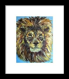Braveheart - African male lion Framed Print by Kelly Goss Male Lion, Braveheart, Wall Art For Sale, Wild Dogs, Wildlife Art, Pet Dogs, Spice, Elephant, Sketches
