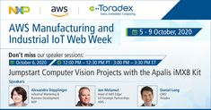 Save the dates! The upcoming AWS Manufacturing and Industrial IoT Web Week begins in just a few weeks! We have an interesting speaker session lined up for you with key partners, #NXP & #AWS, entitled 'Jumpstart Computer Vision Projects with the #Apalis #iMX8 Kit'. #AlexandraDopplinger #JonMelamut #DanielLang #NXPpartner Computer Projects, Computer Vision, Dates, Industrial, Key, Unique Key, Industrial Music, Keys