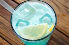 Blue Lagoon      1 ounce vodka      1 ounce blue curacao      Lemonade  Fill a highball glass with ice and pour in your vodka and curacao. Top the rest of the way with lemonade, and garnish with a wedge of lemon.