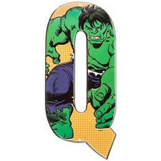 Marvel Superheroes Embossed Tin Letter - Q Hulk⎜Open Road Brands