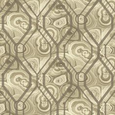 Malachite Trellis Wallpaper in Taupe and Silver design by York Wallcoverings