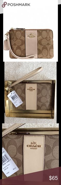 "COACH CORNER ZIP WRISTLET Boxed Coach corner zip wristlet in signature coated canvas.  Zip closure, fabric lining.  Coach hang tag.  Credit card pockets, wrist strap attached.  Care instructions included.  Packaged in Coach gift box.  6 1/4"" long, 4"" high.  Color is imitation gold/khaki platinum.  Great gift!  Brand new with tags!! Coach Bags Clutches & Wristlets"