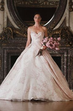Amazed by this watercolor print ball gown? You need take a look at the stunning Spring 2016 Romona Keveza Luxe Bridal Collection. #weddingdress