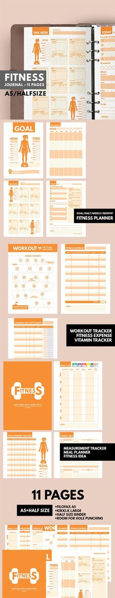 Printable Fitness Trackers and Food Journal Journal, Planners - küche selbst gestalten