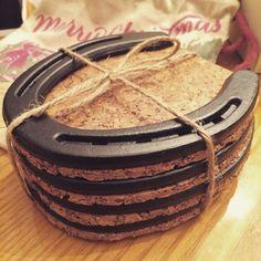 Diy horseshoe coasters What you need: Cork board Horseshoes Flat black spray paint Mod podge #HorseShoeCrafts