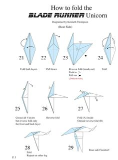 Blade Runner Unicorn Origami Diagram