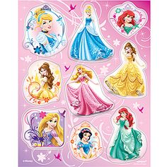 These enchanting Disney Princess Royal Event Stickers show Cinderella, Tiana, Belle, Ariel and other beautiful Disney Princesses. Each package includes 4 sheets