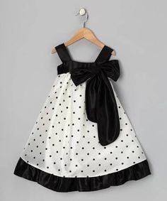 a look at this Black Polka Dot Bow Dress - Toddler & Girls by Kid's Dream on today!Take a look at this Black Polka Dot Bow Dress - Toddler & Girls by Kid's Dream on today! Toddler Girl Dresses, Toddler Outfits, Kids Outfits, Toddler Girls, Little Girl Dresses, Girls Dresses, Baby Dresses, 50s Dresses, Peasant Dresses
