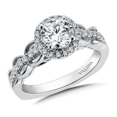 R9684W - Diamond Halo Engagement Ring Mounting in 14K White Gold (.28 ct. tw.) - Halo - Valina Rings - Designer Collection