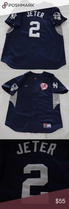 """Yankee Jersey Blue/Gray #2 Derek Jeter Size Medium Yankee Jersey by Majestic Blue/Gray #2 Derek Jeter Size Medium 18 1/2"""" across chest 22"""" in length Brand New No Tags This Was A Gift Never Worn Majestic Shirts Tees - Short Sleeve"""