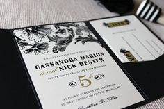 Vintage Glam Wedding Invitation Collection shown in black, ivory and soft gold
