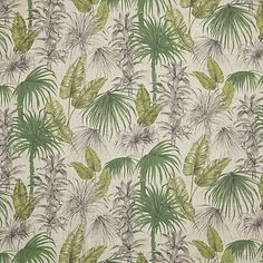Buy John Lewis & Partners Liana Furnishing Fabric, Green from our View All Fabrics range at John Lewis & Partners. Free Delivery on orders over Lined Curtains, Curtains With Blinds, Curtain Fabric, Linen Fabric, Curtain Lining, Tropical Decor, Tropical Plants, Palm Plants