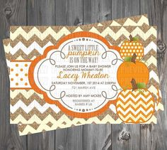 Pumpkin/Fall Baby Shower Invitation by EmiJaiDesigns on Etsy