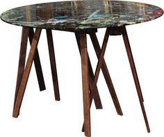 Wonderful collapsible/ portable table used by artist as work station. Heavy glass top sits atop three antique wood sawhorses that fold flat beautiful piece of art just as it is. Portable Table, Lost Art, How To Antique Wood, Art Pieces, Antiques, Glass, Furniture, Home Decor, Artist