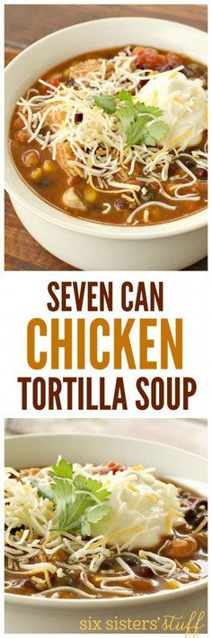 Seven Can Chicken Tortilla Soup from SixSistersStuff This recipe could not be easier Dump all the ingredients together in a pot and let it simmer Substitute the canned chicken for a rotisserie chicken or leftover cooked chicken from another meal Crockpot Recipes, Soup Recipes, Chicken Recipes, Dinner Recipes, Cooking Recipes, Milk Recipes, Recipies, Recipes For Rotisserie Chicken, Cooking Tips