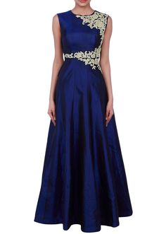 Navy blue gown adorn in zari applique embroidery only on Kalki