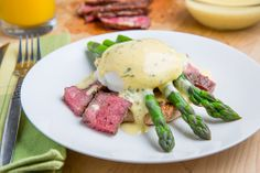 Steak and Eggs Benedict with Asparagus in Bearnaise Sauce.  E A S Y!!!!!! and delicious!!!! E A S Y!!!! Thank you Kevin @ Closet Cooking!