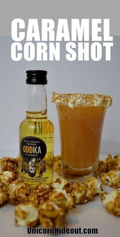 Caramel corn shot recipe using Oddka Salty Caramel Popcorn vodka. Great for Halloween, fall, movie night or a baseball themed party. Easy Shot Recipes, Easy Shots, Infused Vodka, Caramel Corn, Popcorn Recipes, Movie Nights, Cocktail Recipes, Cocktails, Themed Parties