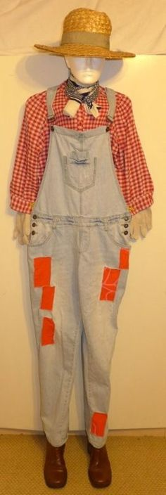 LADIES FARMER HILLBILLY BIB & BRACE DUNGAREES OVERALLS COSTUME OUTFIT S-M 12-14 eBay item number:390911645290