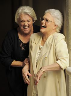 Tyne Daly, 67 and Sharon Gless, 69... they are so cute and pretty, even when cracking up and maybe because they're cracking up.