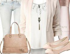 Frühlingshaftes Outfit mit Blazer in schickem Beige <3 Hier kaufen: http://stylefru.it/s37928 #Tasche #Ballerinas #fashion