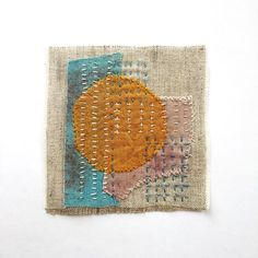 Japanes boro Sashiko Slow stitch Mending Patch of Natural linen Plant dyed Natural dyed Recycled Boro patchwork Embroidery slow stitch Abstract Embroidery, Embroidery Art, Embroidery Stitches, Embroidery Patterns, Art Fibres Textiles, Textile Fiber Art, Shashiko Embroidery, Boro Stitching, Fabric Postcards