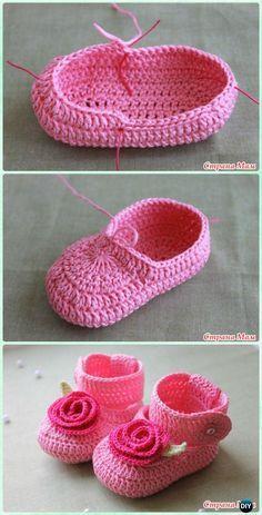 Crochet Rosy Buckle Baby Booties Free Pattern - #Crochet Baby #Booties Slippers Free Pattern