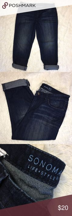 Sonoma Plus Size 14 boyfriend Jeans 🔘Description: Sonoma Plus Size 14 boyfriend Jeans dark wash excellent used condition 🔘Measurements: Hip to Hip:  18.5 inches      	Inseam: 27.5 inches unrolled                             Inventory: B  Thanks for stopping by! Sonoma Jeans Boyfriend